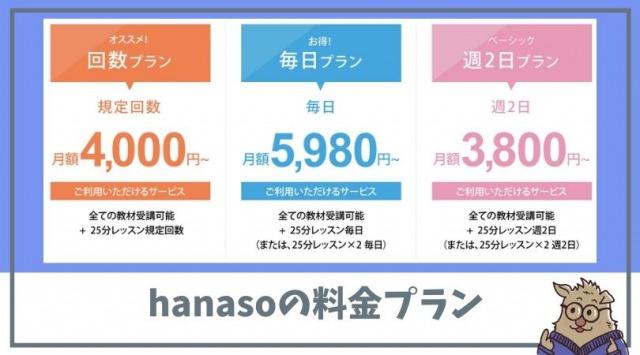 hanasoの料金プラン